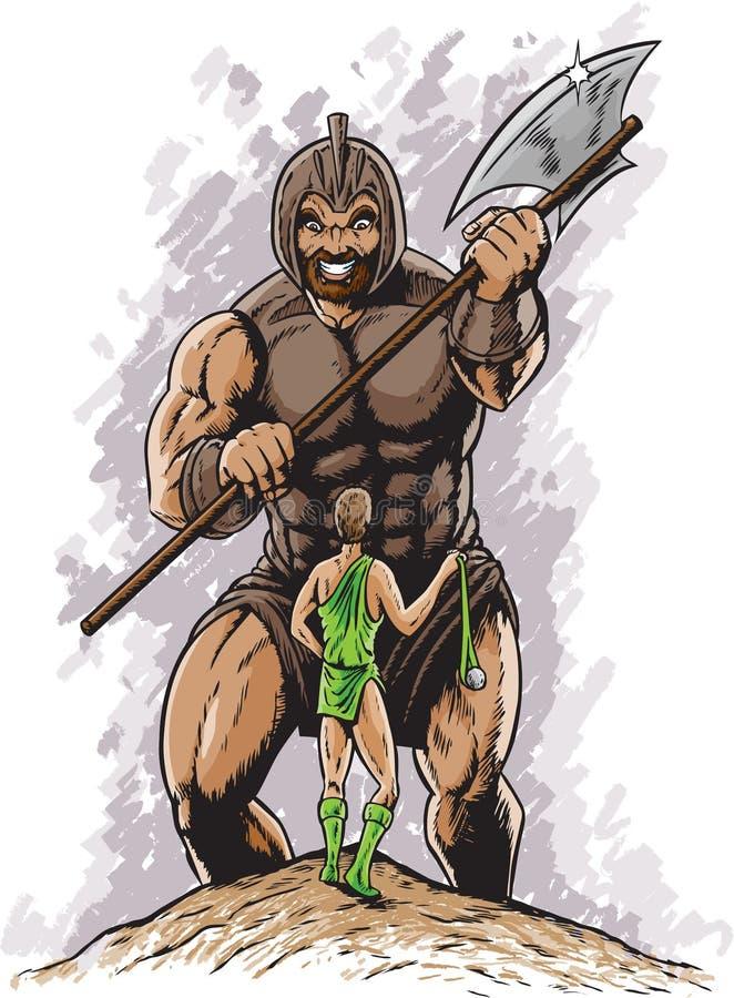 David contre Goliath illustration de vecteur