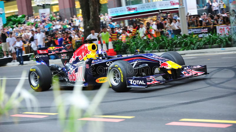 David Coulthard que conduz Red Bull que compete o carro F1 fotos de stock