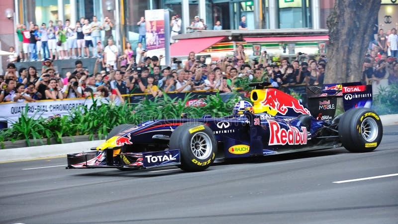 David Coulthard que conduz Red Bull que compete o carro F1 fotos de stock royalty free