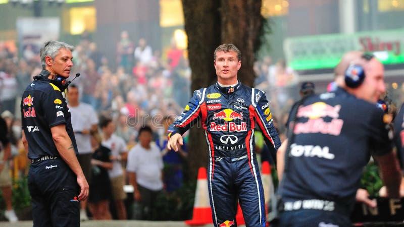 David Coulthard que enfrenta a audiência imagens de stock