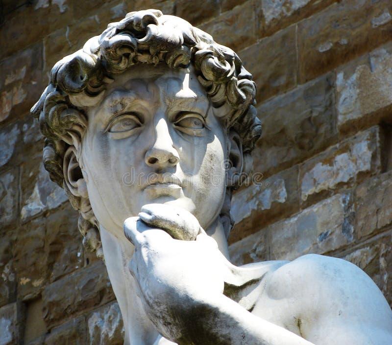 David door Michelangelo buiten Palazzo Vecchio op Piazza della Signoria, Florence, Italië royalty-vrije stock afbeelding