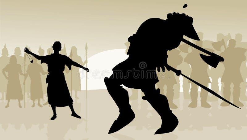 David e colosso ilustração royalty free