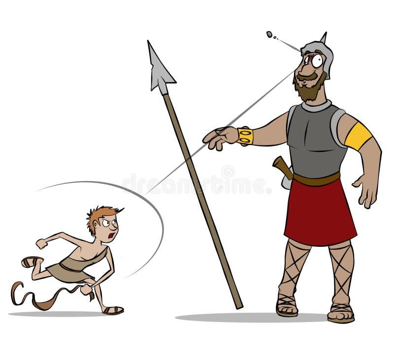 David e cor de Goliath ilustração royalty free