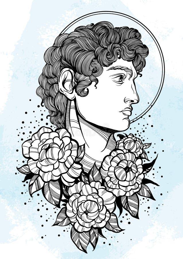 david El héroe mitológico de Grecia antigua Ilustraciones hermosas a mano del vector aisladas Mitos y leyendas Arte del tatuaje,  ilustración del vector