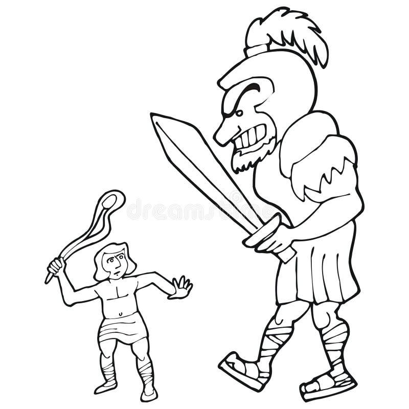david en goliath vector illustratie illustratie bestaande