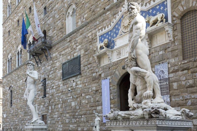 David en Hercules met Cacuc in Piazza della Signoria royalty-vrije stock afbeelding