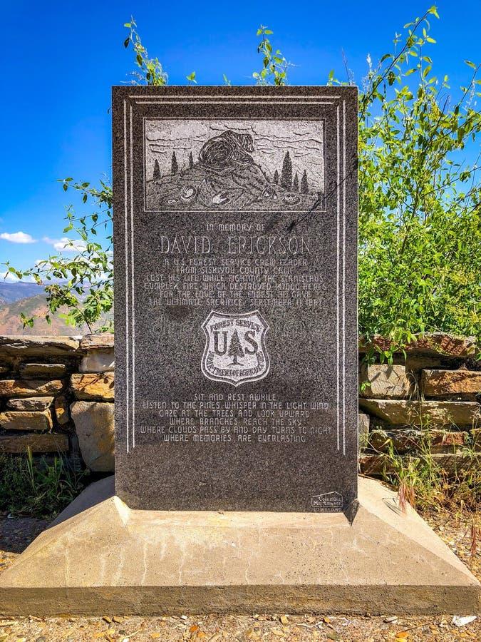 David Erickson Monument nella contea di Toulumne immagine stock libera da diritti