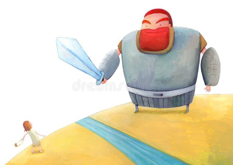David et Goliath illustration de vecteur