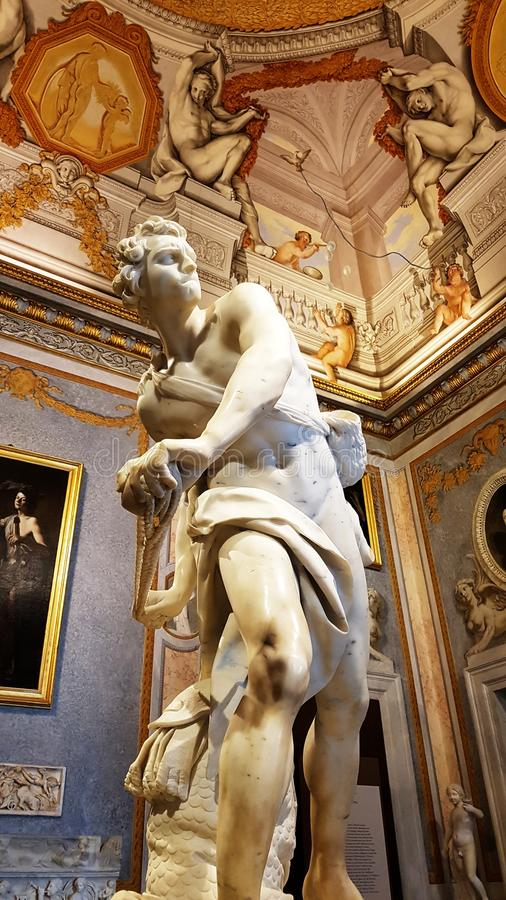 David, a famous sculpture of the Borghese Gallery in Rome. royalty free stock images