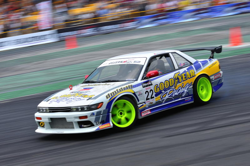 David Feliciano drifting at Formula Drift 2010. David Feliciano from Goodyear Philippines team competing at Singapore Formula Drift 2010 at F1 Pit Building on 24 stock image