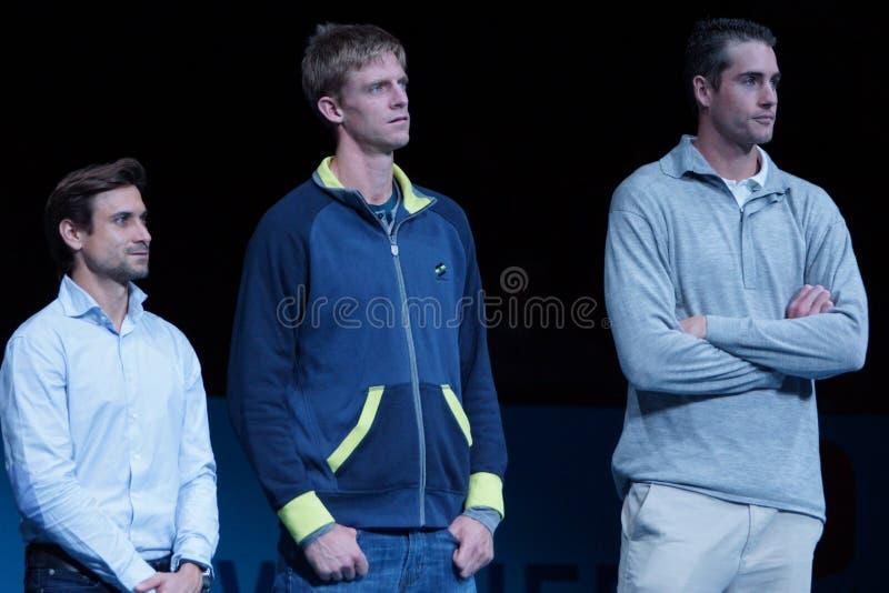 David Ferrer (ESP), Kevin Anderson (RSA) e John Isner (EUA) fotografia de stock