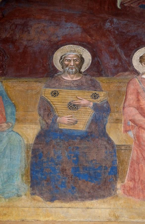 David, fresco en la iglesia de Santa Maria Novella en Florencia foto de archivo