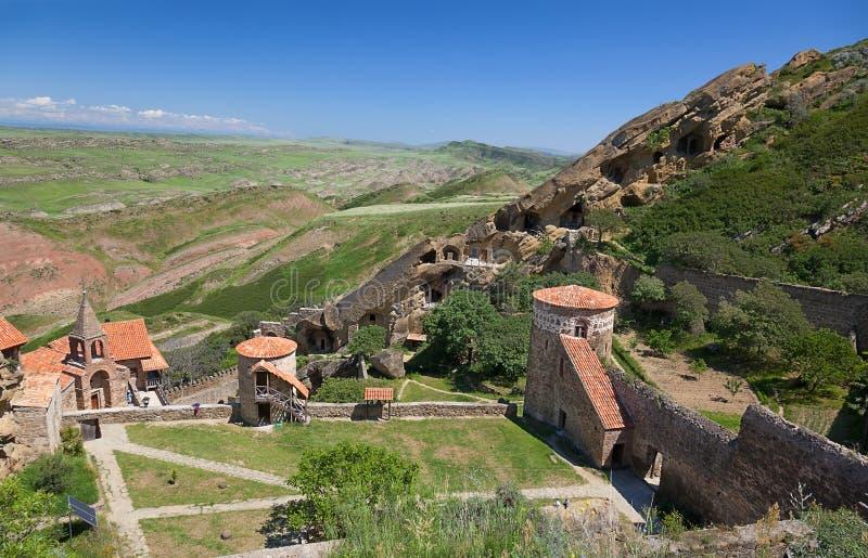 David Gareja monastery complex. Kakheti. Georgia. View from top to David Gareja cave monastery complex. Kakheti. Georgia royalty free stock images