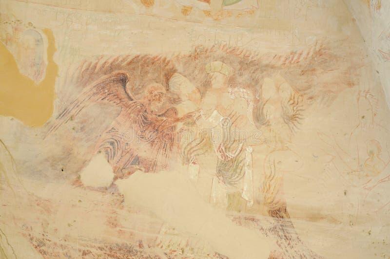 Surviving frescoes of David Gareja monastic complex. David Gareja is a rock-hewn Georgian Orthodox monastery complex located in Sagarejo Municipality, the royalty free stock photo
