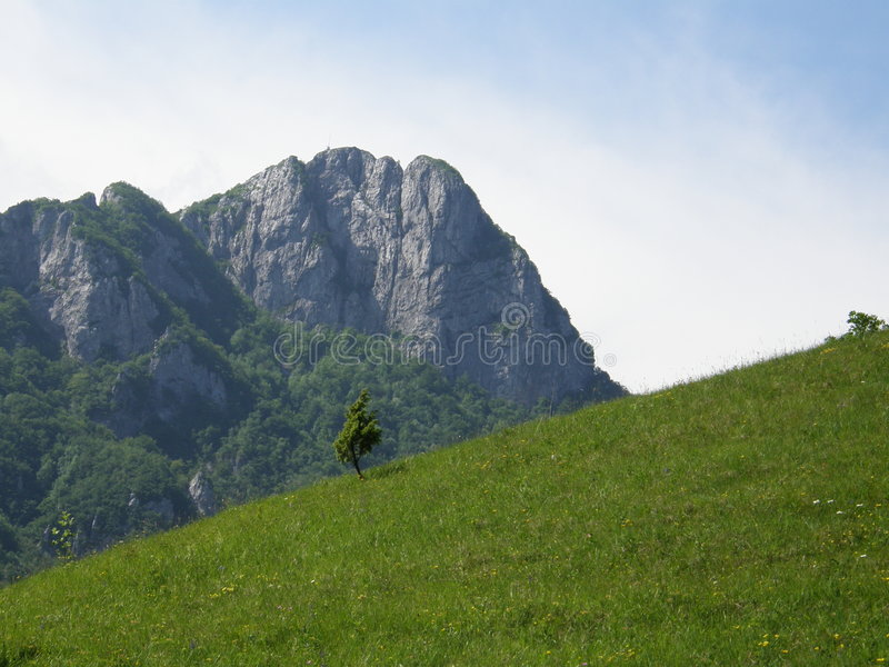 David and Goliat. Mountain called Klek,placed in state Croatia town Ogulin. Very popular destination for rock climber and hikers royalty free stock image