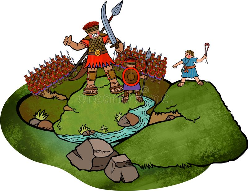 David and Goliath stock illustration
