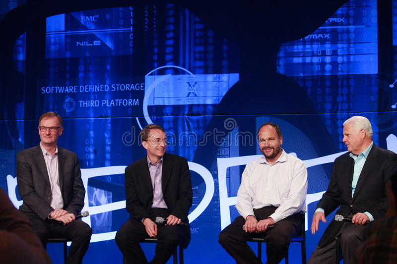 David Goulden, Pat Gelsinger, Paul Maritz and Joe Tucci (left to right) announce federation. LAS VEGAS, NV - MAY 6, 2014: David Goulden, Pat Gelsinger, Paul royalty free stock images