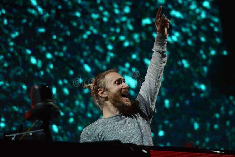 David Guetta 2016g no festival da música em Novi Sad, Sérvia fotos de stock