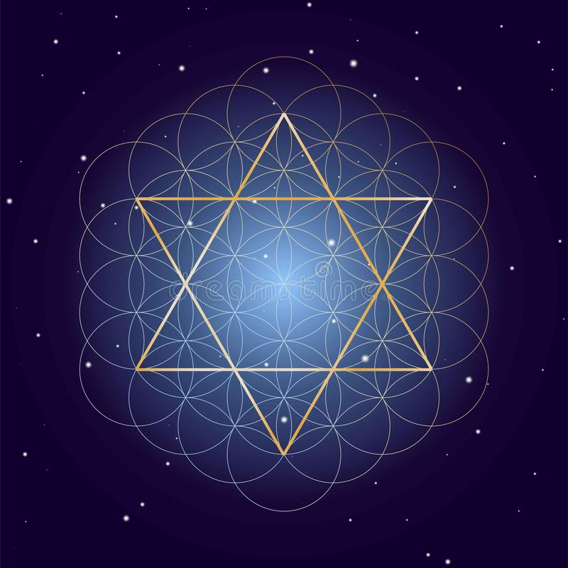David gwiazda z kwiatem życie, na gwiaździstym nieba tle, symbole święta geometria ilustracja wektor
