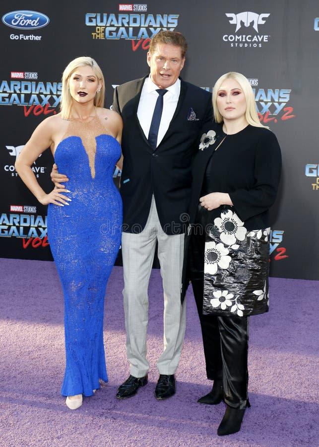 David Hasselhoff, Hayley Hasselhoff en Taylor Ann Hasselhoff royalty-vrije stock foto
