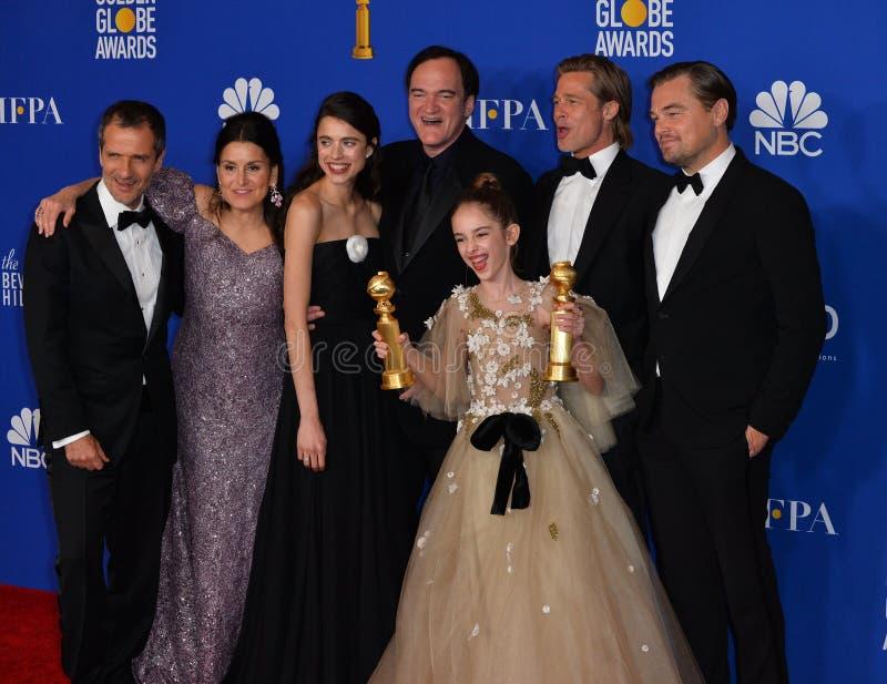 David Heyman, Shannon McIntosh, Margaret Qualley, Quentin Tarantino, Julia Butters, Brad Pitt & Leonardo DiCaprio royalty free stock image