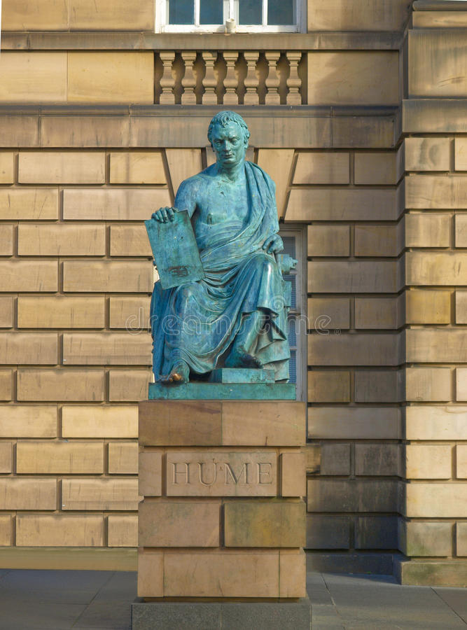 David Hume statue. Statue of David Hume in Edinburgh, philosopher historian of Western philosophy and Scottish Enlightenment stock images