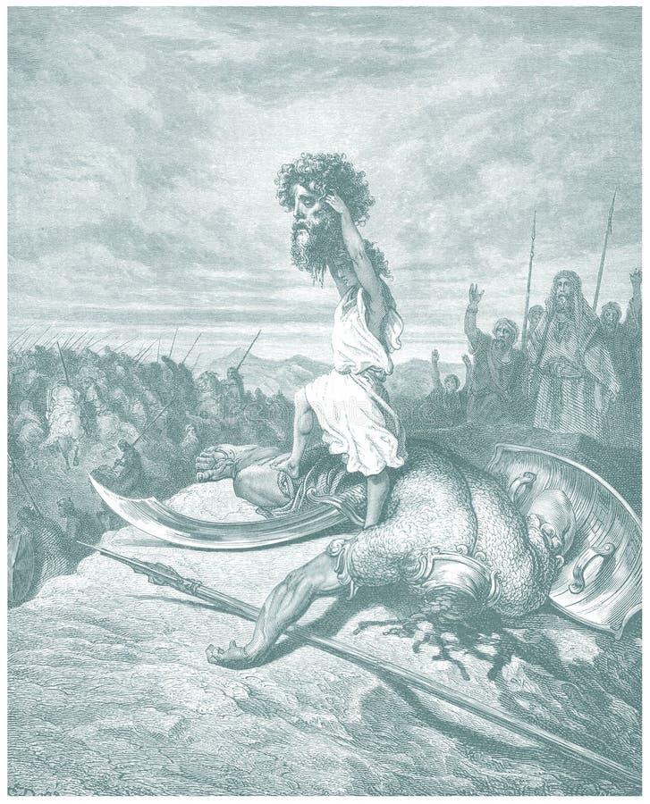 David i Goliath ilustracyjny nakreślenie
