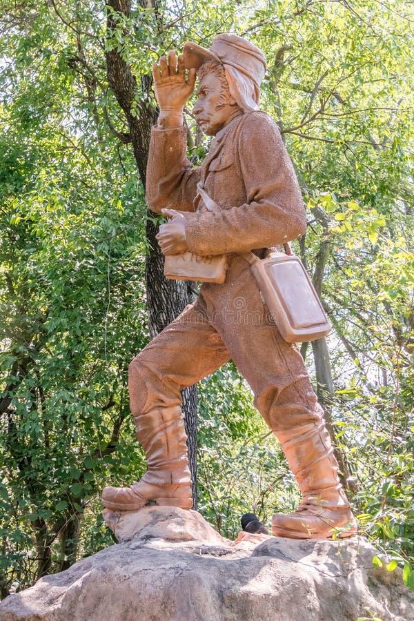 David Livingstone statua w Wiktoria spadkach, zambiowie zdjęcie stock