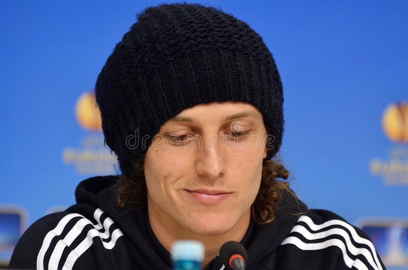 David Luiz of Chelsea Press Conference. David Luiz of Chelsea London pictured during press conference held before the Europa League game between Steaua Bucharest stock images