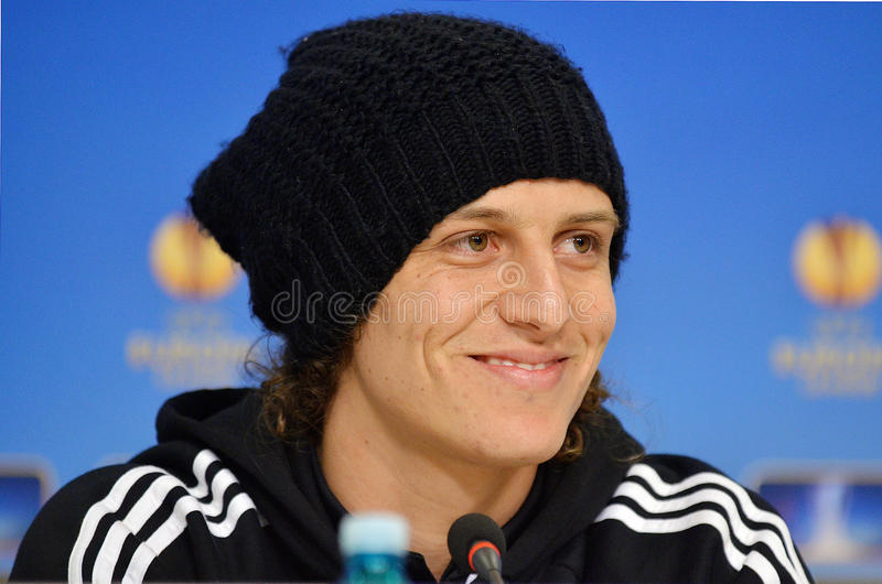 David Luiz of Chelsea Press Conference. David Luiz of Chelsea London pictured during press conference held before the Europa League game between Steaua Bucharest stock photography