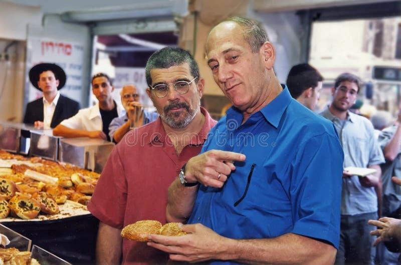 David Mamet i Ehud Olmert fotografia royalty free