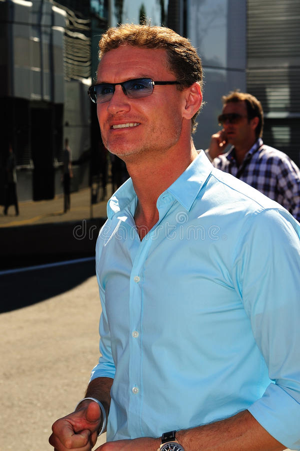 David Marshall Coulthard. David Coulthard in the paddock on monza, working for the BBC F1 royalty free stock image