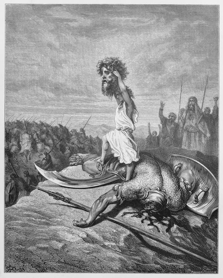 David massacra Goliath ilustração stock