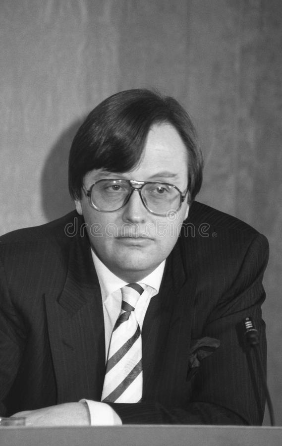 David Mellor. National Heritage Secretary & Conservative Member of Parliament for Putney, at a press conference on March 16, 1992 stock photos