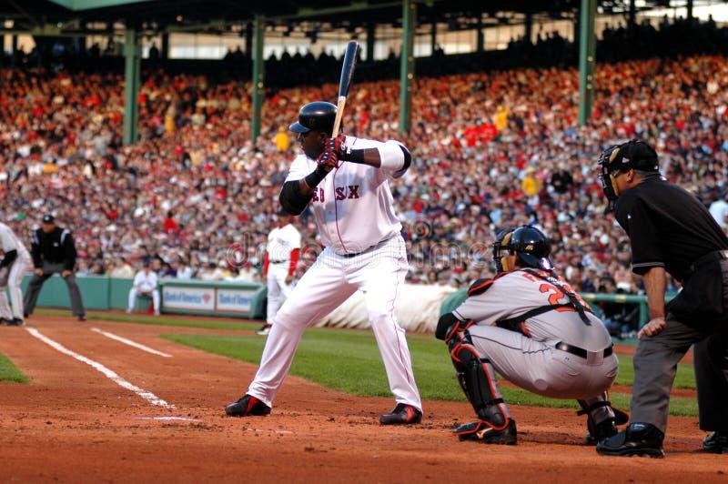 David Ortiz at bat. Boston Red Sox slugger David Ortiz at bat during a game against the Baltimore Orioles stock images
