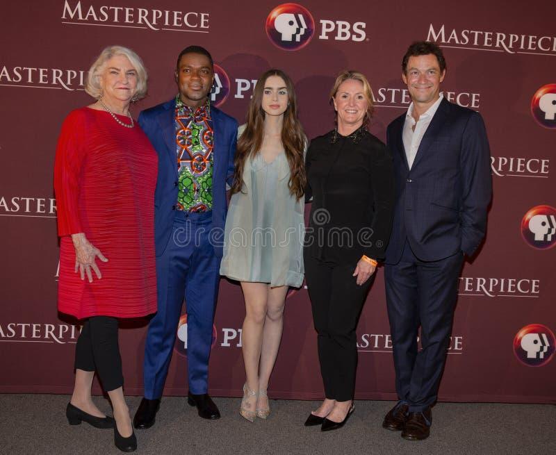 David Oyelowo, Lily Collins, en Dominic West bij de Première van New York van Les Miserables stock fotografie