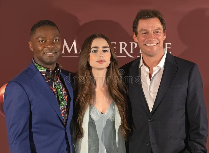 David Oyelowo, Lily Collins, en Dominic West bij de Premi?re van New York van Les Miserables royalty-vrije stock afbeeldingen