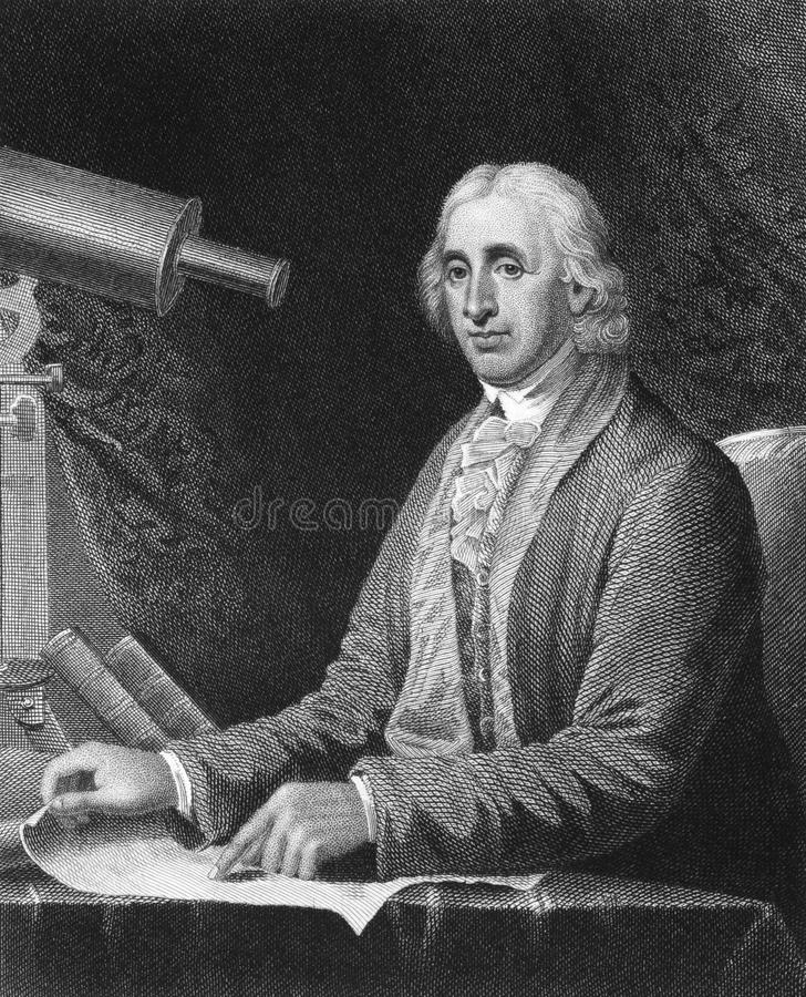 David Rittenhouse. (1732-1796) on engraving from 1835. American astronomer, inventor, clockmaker, mathematician, surveyor, scientific instrument craftsman and stock photos