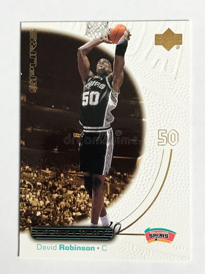 David Robinson Upperdeck Basketball Card 2000 idoso imagem de stock