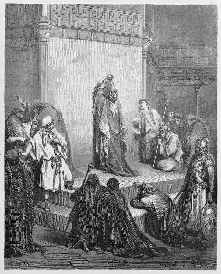 David rouwt de dood van Absalom royalty-vrije stock afbeeldingen