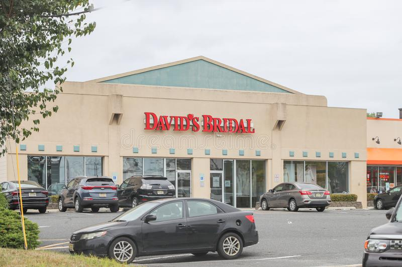 David`s Bridal is a clothier in the United States that specializes in wedding dresses. Princeton, New Jersey October 6, 2019:David`s Bridal is a clothier in the stock photography