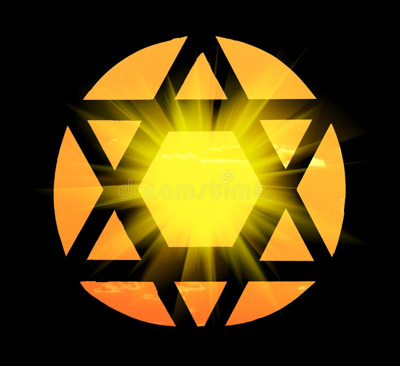 David`s star shape window in a synagogue stock images