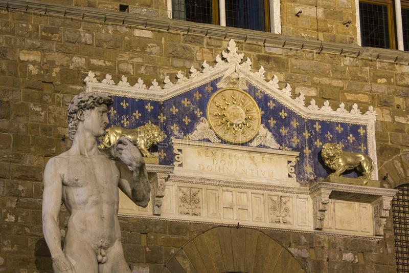 David sculpture copy in fron of the main entrance of Palazzo Vecchio in Florence stock photos