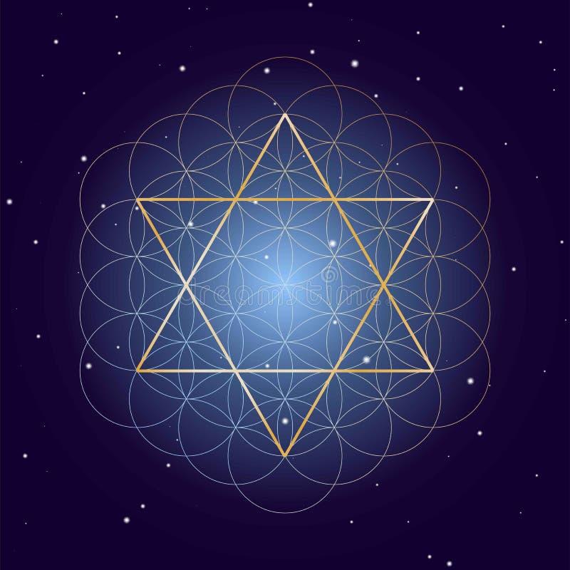 David Star avec la fleur de la vie, sur le fond étoilé de ciel, symboles de la géométrie sacrée illustration de vecteur