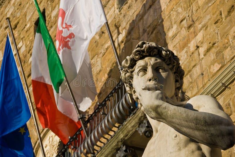David van Michaelangelo bij de Ingang van het Museum Uffizi royalty-vrije stock fotografie
