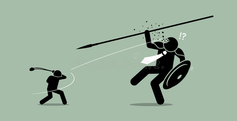 David versus Goliath. Vector artwork depicts underdog wins vector illustration