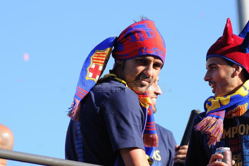 David Villa Asturian (från den Gijon staden) spelare av det F.C Barcelona fotbollslaget arkivfoton