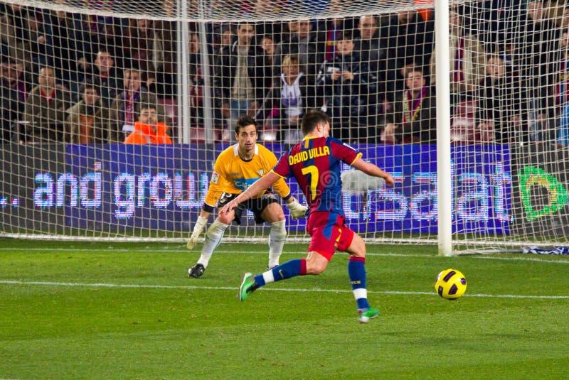 David Villa Shooting A Goal Editorial Photo