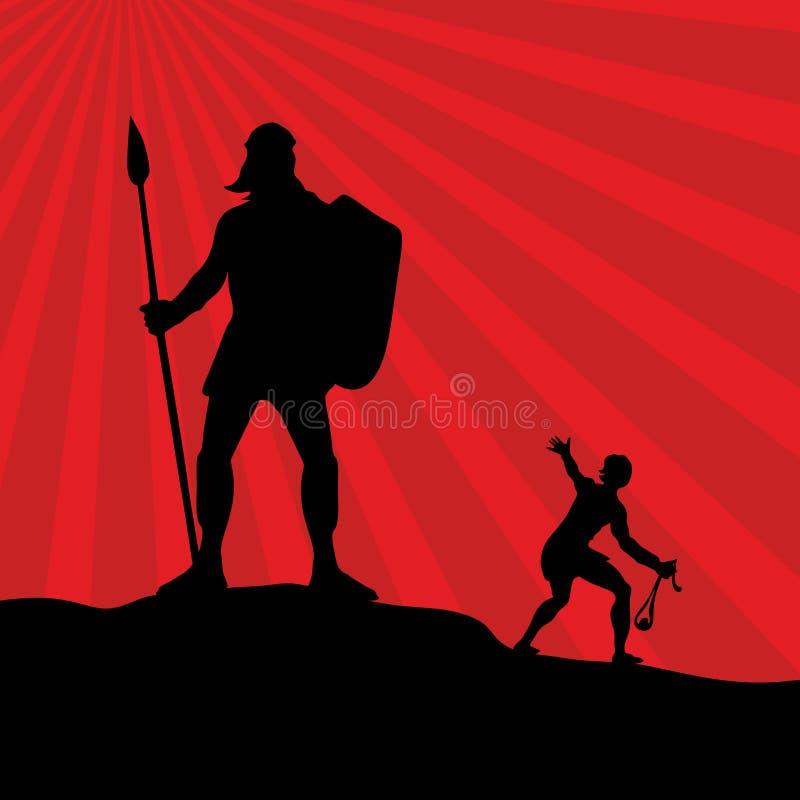David y Goliath Silueta, mano dibujada stock de ilustración