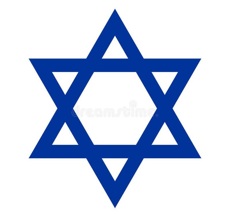 Davidsstern, Israel-Flaggensymbol, Emblem, Dichtung ein Symbol der jüdischen Kultur und der Religion stock abbildung